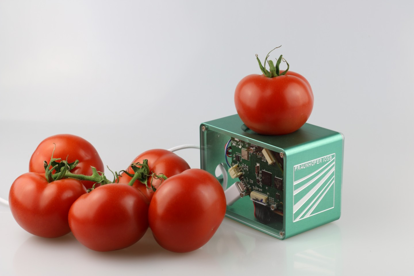 Tomatoes on an electronic device